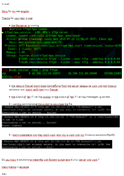 TFTP / Solution for a linux server | Extreme Networks