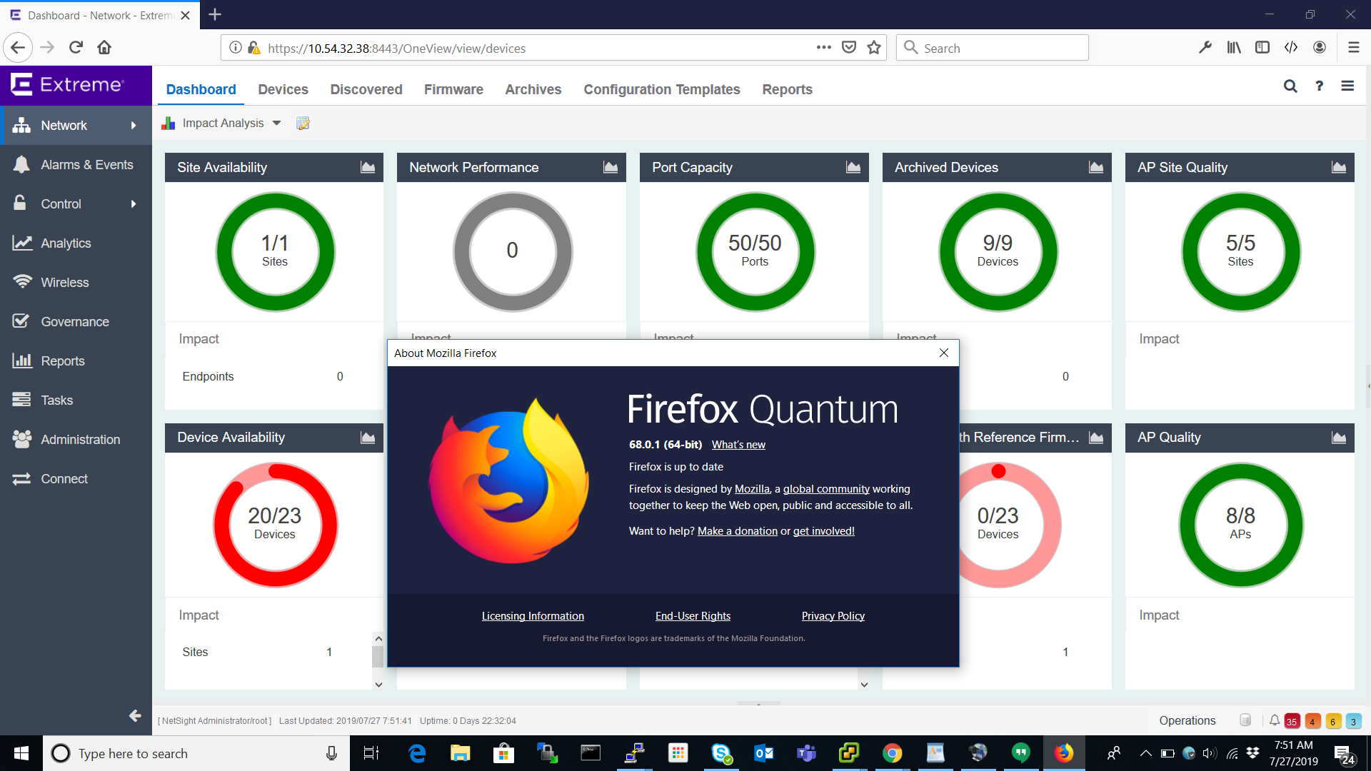 XMC and Firefox ESR: Security error (websocket?) | Extreme Networks