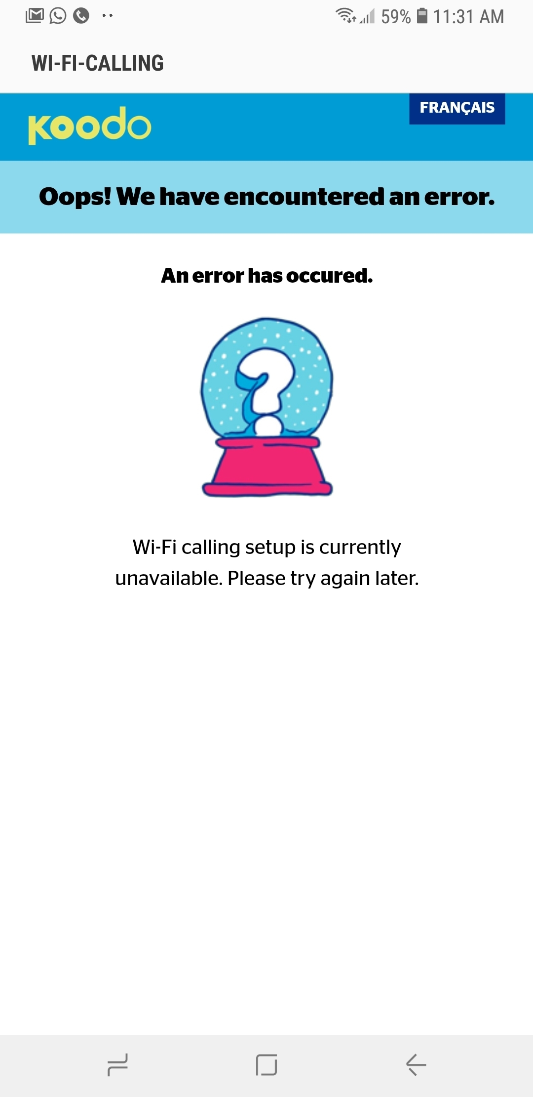 WiFi Calling Setup Error Page | Koodo Community