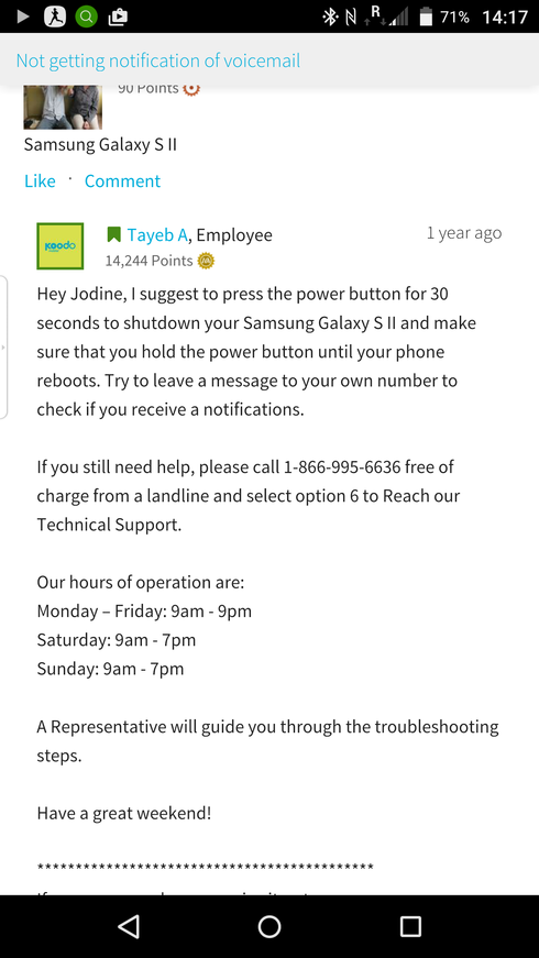 missing voicemail notification   Koodo Community