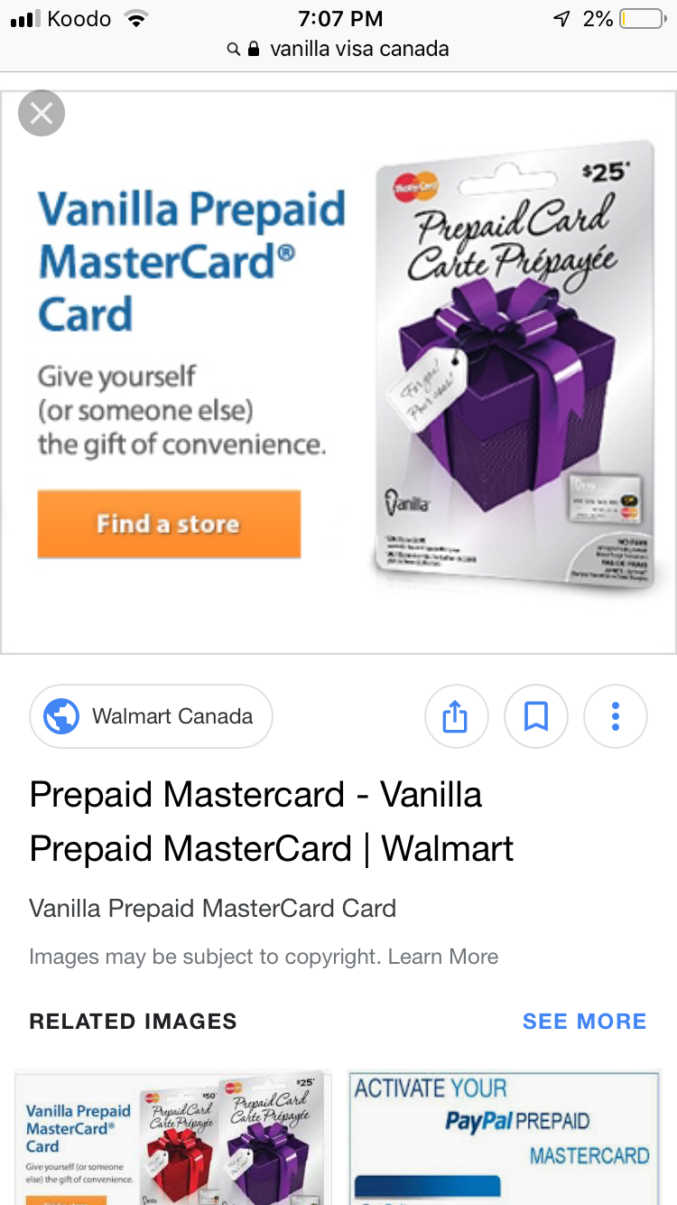 Carte De Credit Prepayee Vanilla.Trouble Which Type Of Visa Credit Card At Grocery Store Koodo