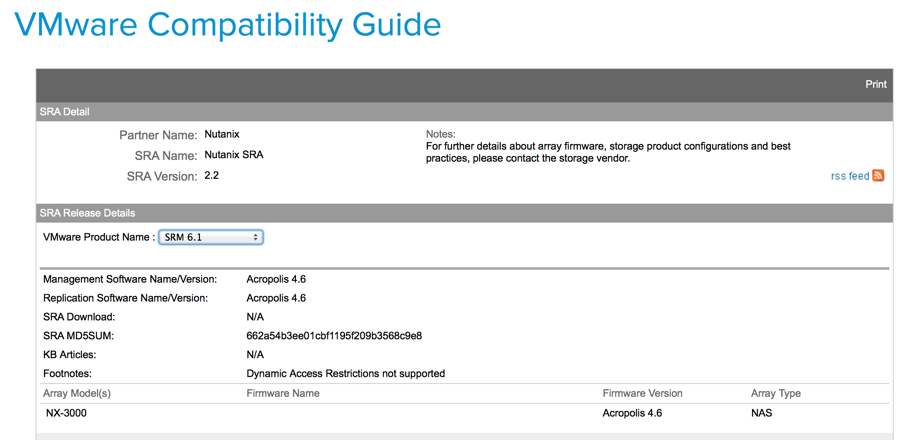 Nutanix Storage Replication Adapter (SRA) Is VMware