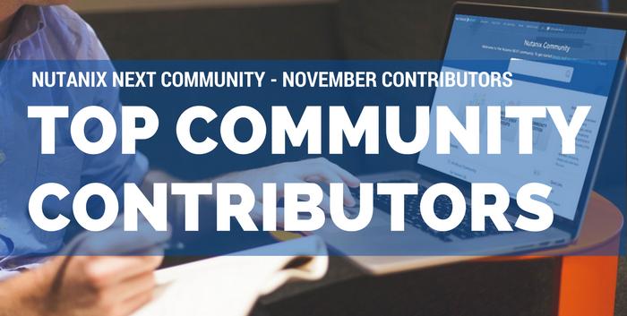Nutanix Community Top Contributors | November 2016
