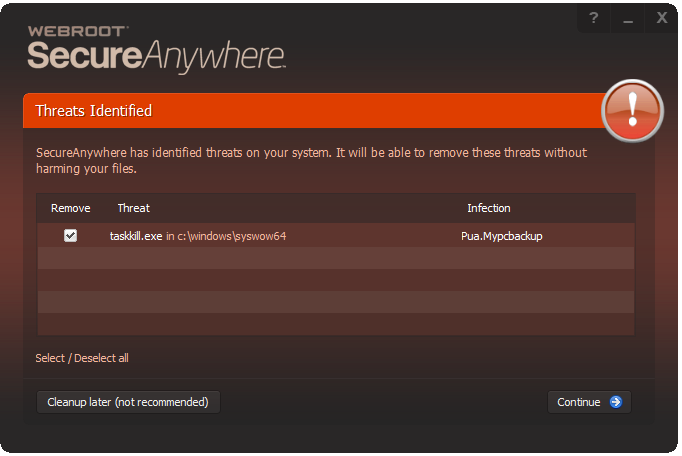 Webroot calls taskkill exe a Pua Mypcbackup  False positive or not