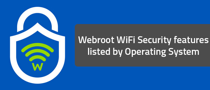 Webroot WiFi Security features listed by Operating System