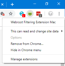 bug: Webroot Filtering Extension in Chrome claims to be for
