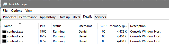 conhost.exe in task manager