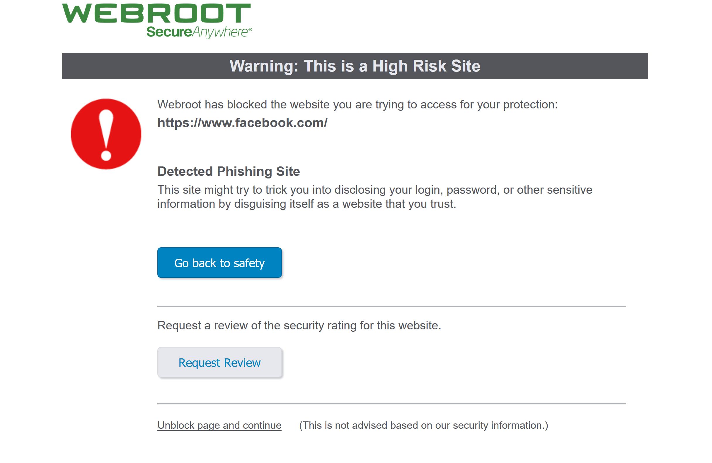 blocking facebook | Webroot Community