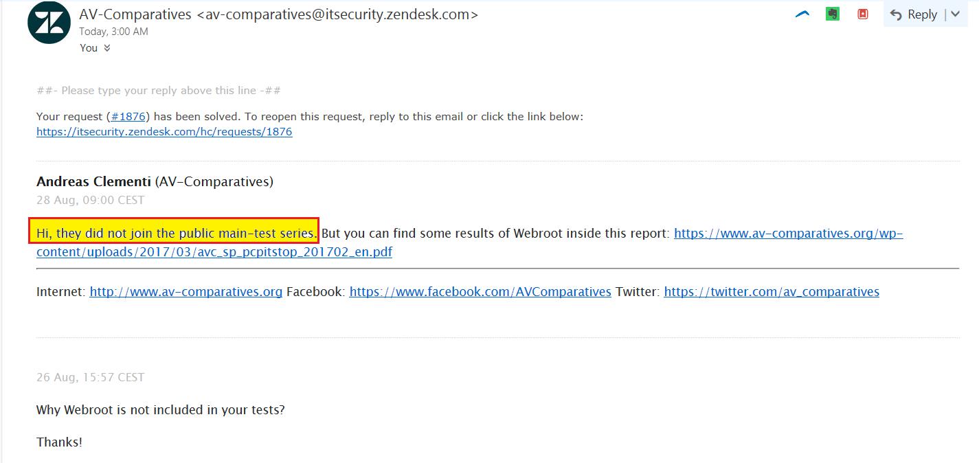 I asked AV Comparatives     | Webroot Community