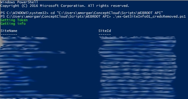 Simple PowerShell example to get site info | Webroot Community
