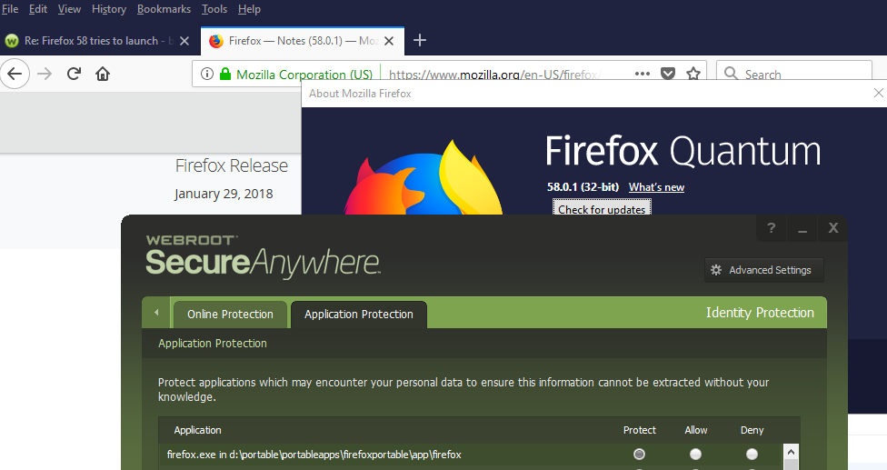 Firefox 58 tries to launch - blank window ? | Webroot Community