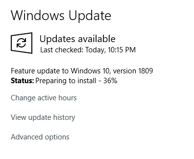 FEATURE UPDATE TO WINDOWS 10 VERSION 1809 PENDING DOWNLOAD
