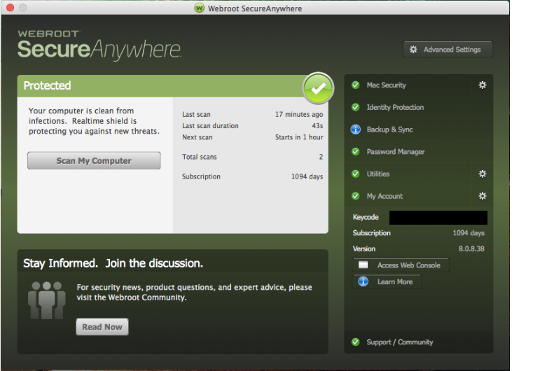 MAC - How to activate a new keycode | Webroot Community