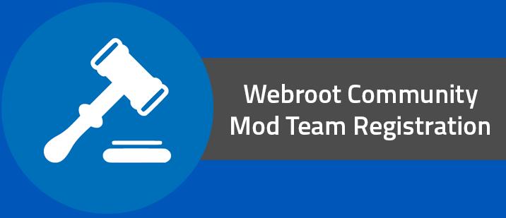 Webroot Community Mod Team Registration