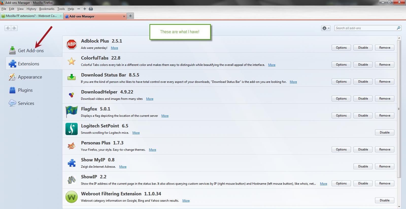 Mozilla FF extensions? | Webroot Community