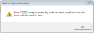 Error FZL2222 - Replacement Keycode Has Been Issued