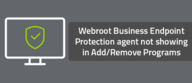 Webroot Business Endpoint Protection agent not showing in Add/Remove Programs