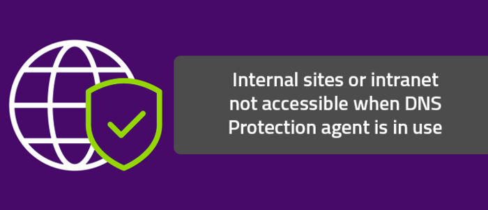 Internal sites or intranet not accessible when DNS Protection agent is in use